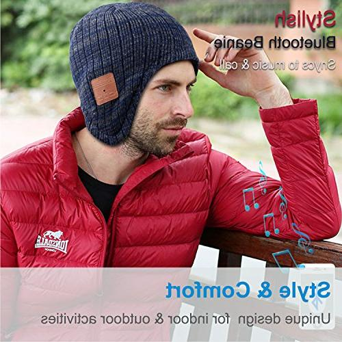 Mydeal Bluetooth Beanie Hat Ear Warmers Wireless Headphones Headsets Microphone for Sports,Compatible with Android Phones - Blue/Gray