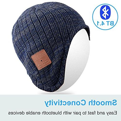 Mydeal Beanie Hat Warmers Wireless Headphones Headsets Earphone Stereo Microphone with Iphone Phones - Blue/Gray