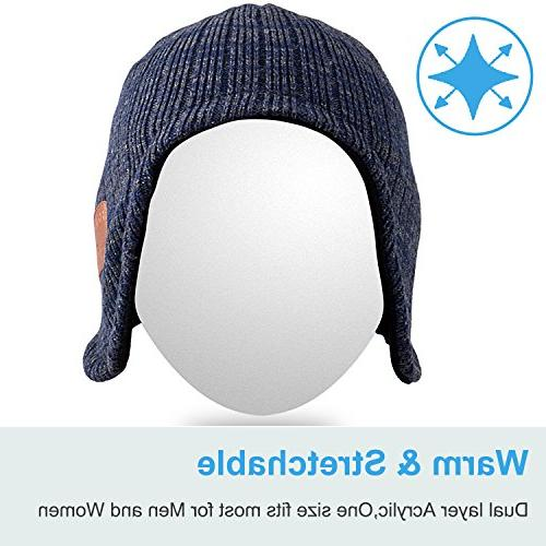 Mydeal Trendy Beanie Hat Warmers Wireless Headsets Microphone for with Iphone Phones - Blue/Gray