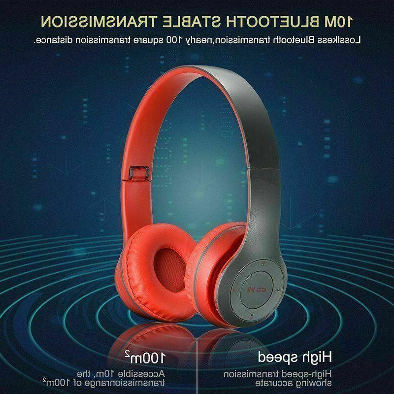 Wireless Foldable Stereo Noise Cancelling Headset Mic US