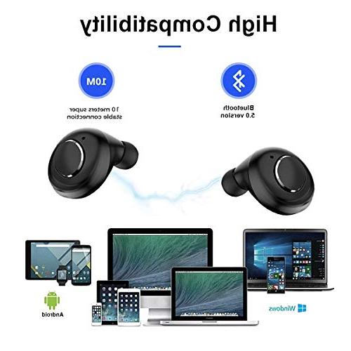 Wireless Bluetooth True Earbuds Playtime Deep HD Sound Bluetooth Mic Portable Charging Case-Black