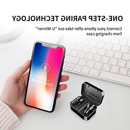 Wireless Earbuds, AMINY U-Winner Bluetooth 5.0 True Bluetooth Case 20H Play 3D Sound Wireless Headphones iOS Android, Built-in Microphone