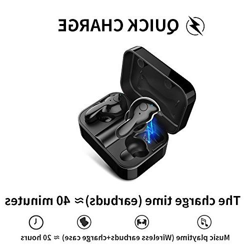 Wireless Bluetooth 5.0 Bluetooth with Charging Case 20H Play 3D Headphones Built-in Microphone
