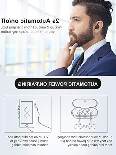 Wireless Earbuds,Upgraded Bluetooth Earphones True Earbuds Hi-Fi Sound Wireless Headphones with Mic Case Noise Compatible
