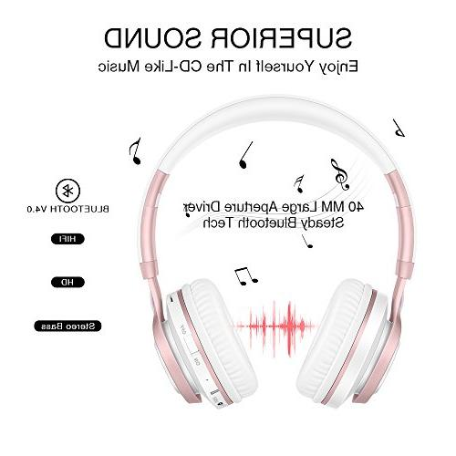 Wireless Headphones, Bluetooth Lightweight Foldable Headset, Card FM Wired Mode for PC TV Travel