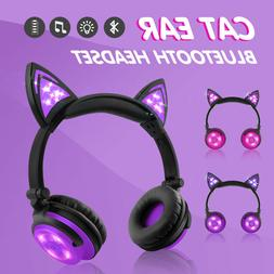 LED Lights Cat Ear Bluetooth Headphones Wireless Earphone Wi