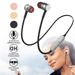 Magnetic Wireless Sport Bluetooth 4.0 Stereo Headphone Earbu