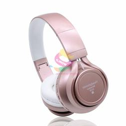 Pink -ZH74 FM Bluetooth Headphone Stereo Headset Earphone Fo