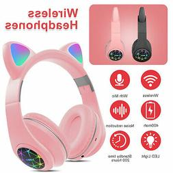Bluetooth Wireless Cat Rabbit Ear Headsets LED w/Mic Headpho
