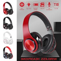 Wireless 3.5mm Gaming Headset LED Headphones Stereo Foldable