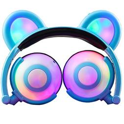 Wireless Bluetooth Cat Ear Headphones,SNOW WI Flashing Glowi
