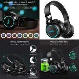Picun Wireless Bluetooth Headphones Led Foldable Headsets Su