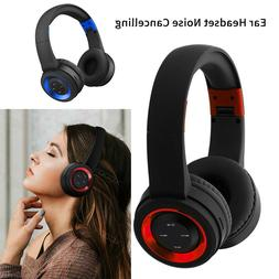 Wireless Bluetooth Headset Foldable Noise Cancelling Bass He