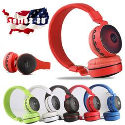 Wireless BT Kids Over-Ear LED Headphones Noise Cancelling Ea