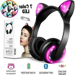 Wireless Bluetooth LED Cat Ear Headphones for Girls with 7-c