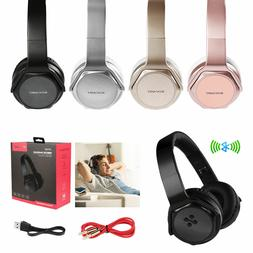 Wireless Foldable Headphones With Built-in Speaker FM NFC Au
